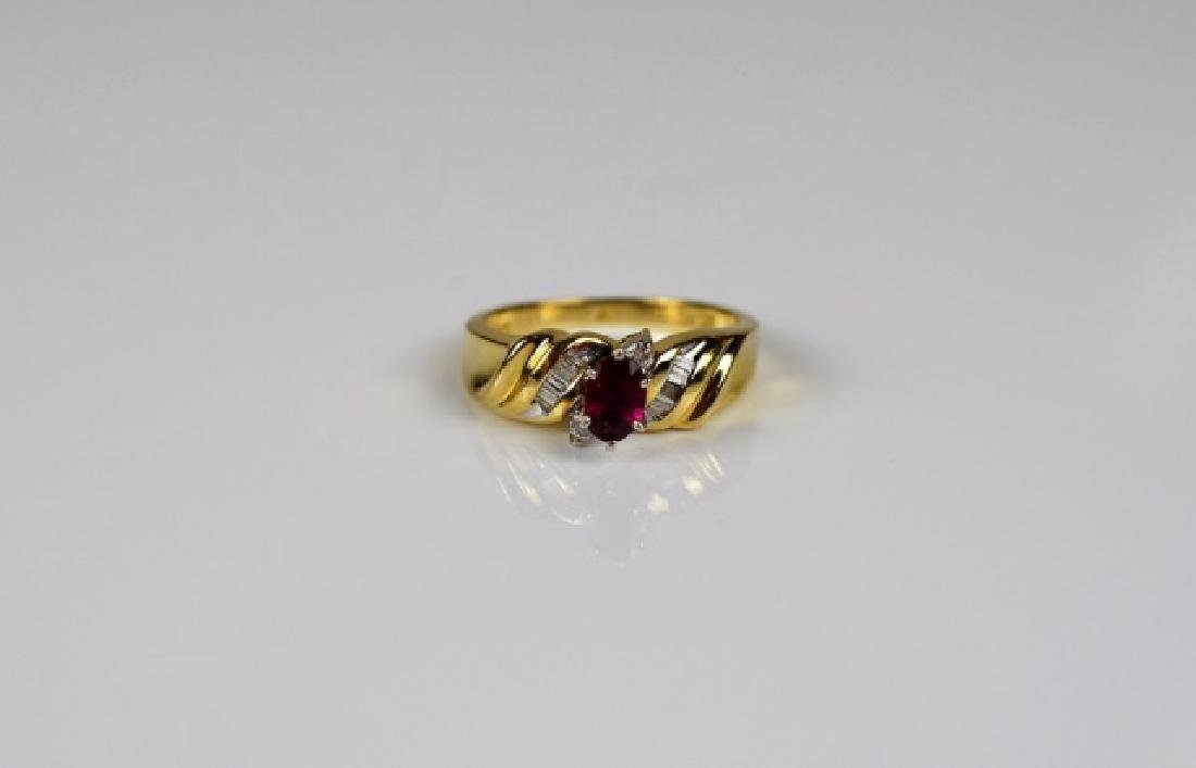 YELLOW & WHITE GOLD RUBY & DIAMOND RING