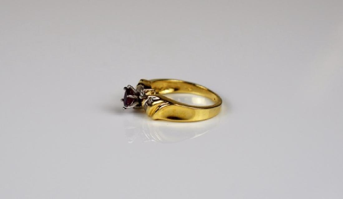 YELLOW & WHITE GOLD RUBY & DIAMOND RING - 2
