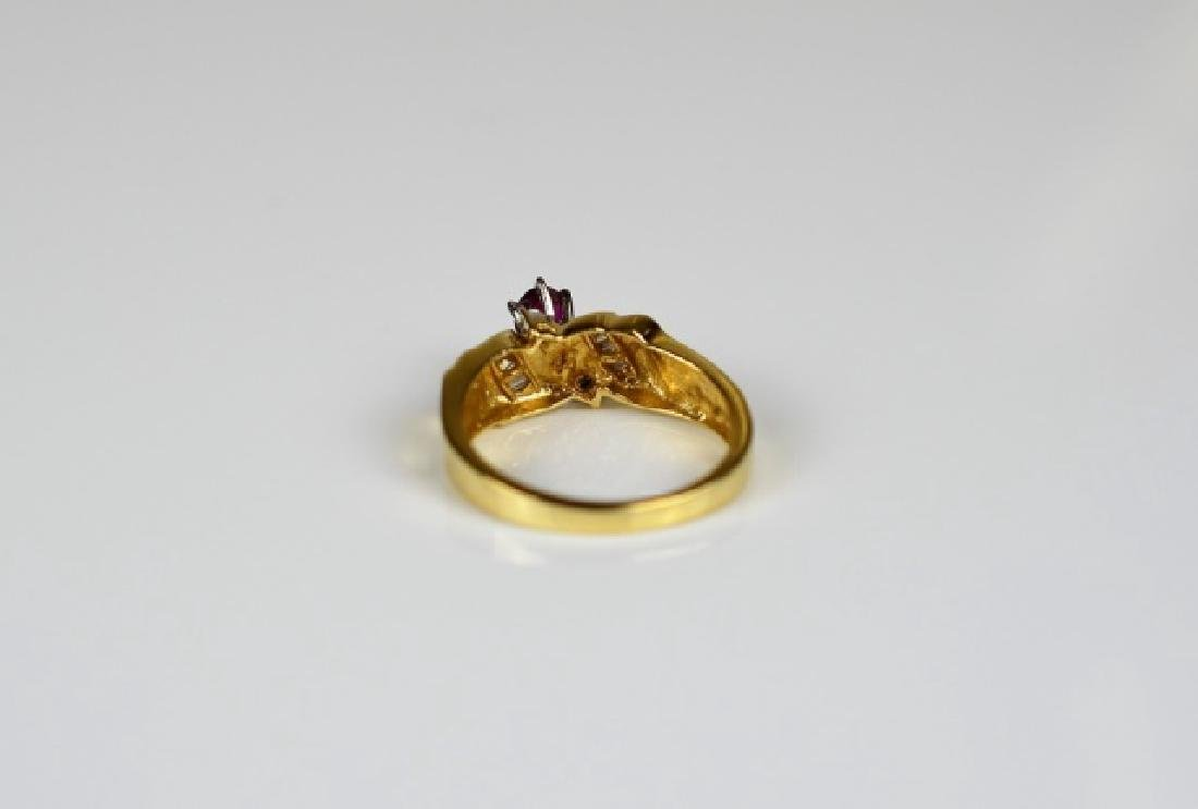 YELLOW & WHITE GOLD RUBY & DIAMOND RING - 3