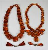 2 AMBER NECKLACES & 2 PAIRS OF AMBER EARRINGS