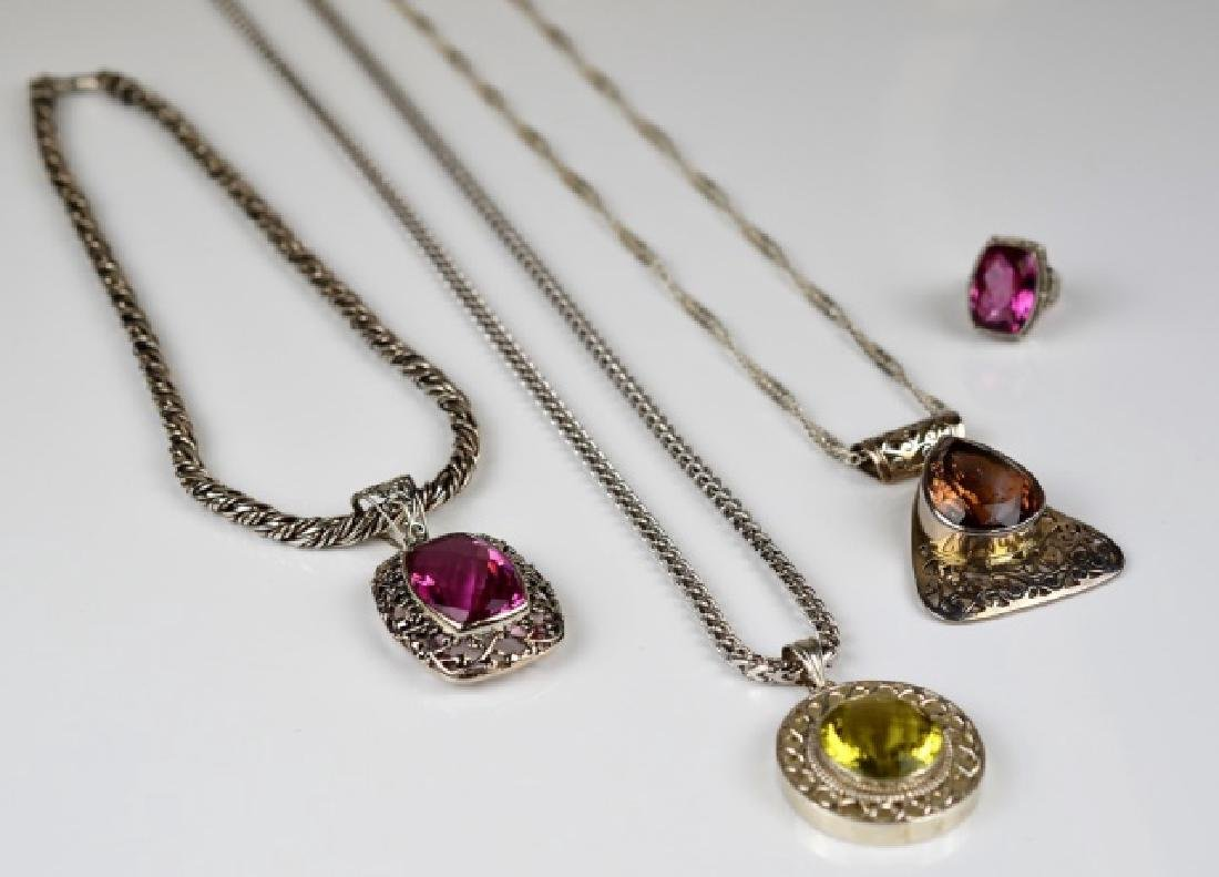 3 SILVER NECKLACES W/ FILIGREE PENDANTS & 1 RING