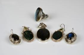 LOT OF SILVER LABRADORITE & MOSS AGATE JEWELLERY