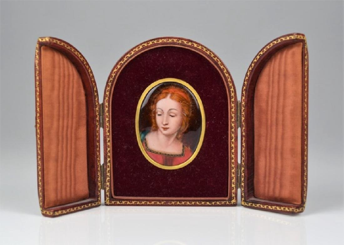 FRENCH ENAMEL PORTRAIT MINIATURE IN FRAME
