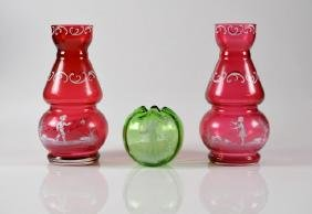THREE PIECES OF MARY GREGORY GLASS
