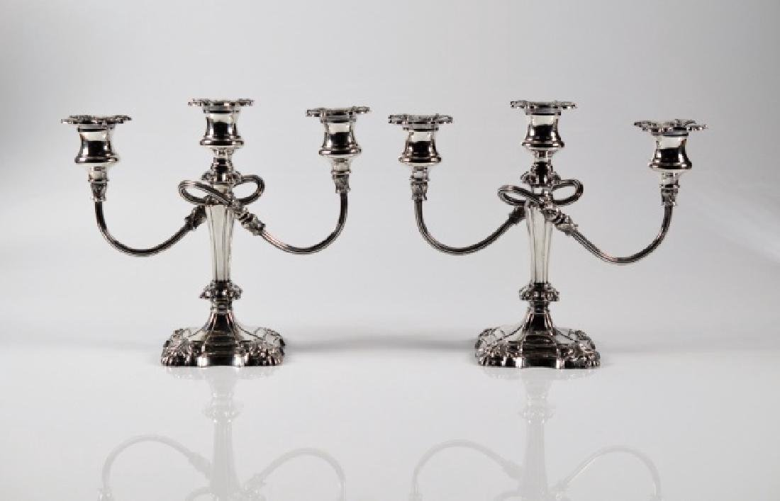 PAIR OF SILVER PLATE TWO BRANCH CANDELABRA