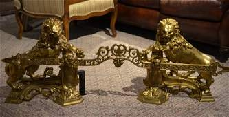 PAIR OF GILT BRONZE FIGURAL CHENETS