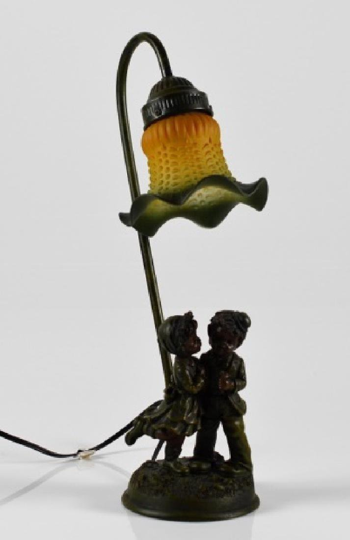 SMALL FIGURAL LAMP WITH HOBNAIL GLASS SHADE