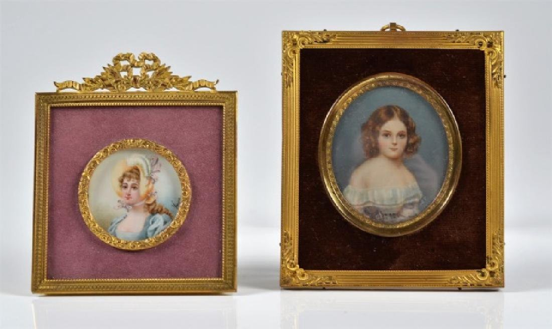 TWO HAND PAINTED PORTRAIT MINIATURES