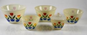 SET OF 5 GRADUATED FIRE KING TULIP MIXING BOWLS