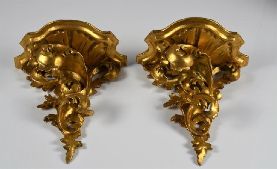 PAIR OF ITALIAN CARVED GILTWOOD WALL BRACKETS - 2