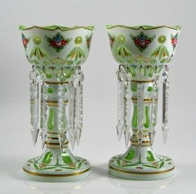 PAIR OF BOHEMIAN CASED GLASS LUSTRES