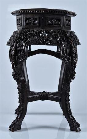 CHINESE CARVED ROSEWOOD & MARBLE STAND