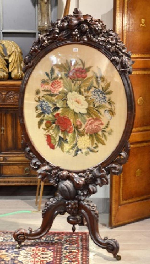 VICTORIAN CARVED ROSEWOOD & NEEDLEPOINT FIRESCREEN