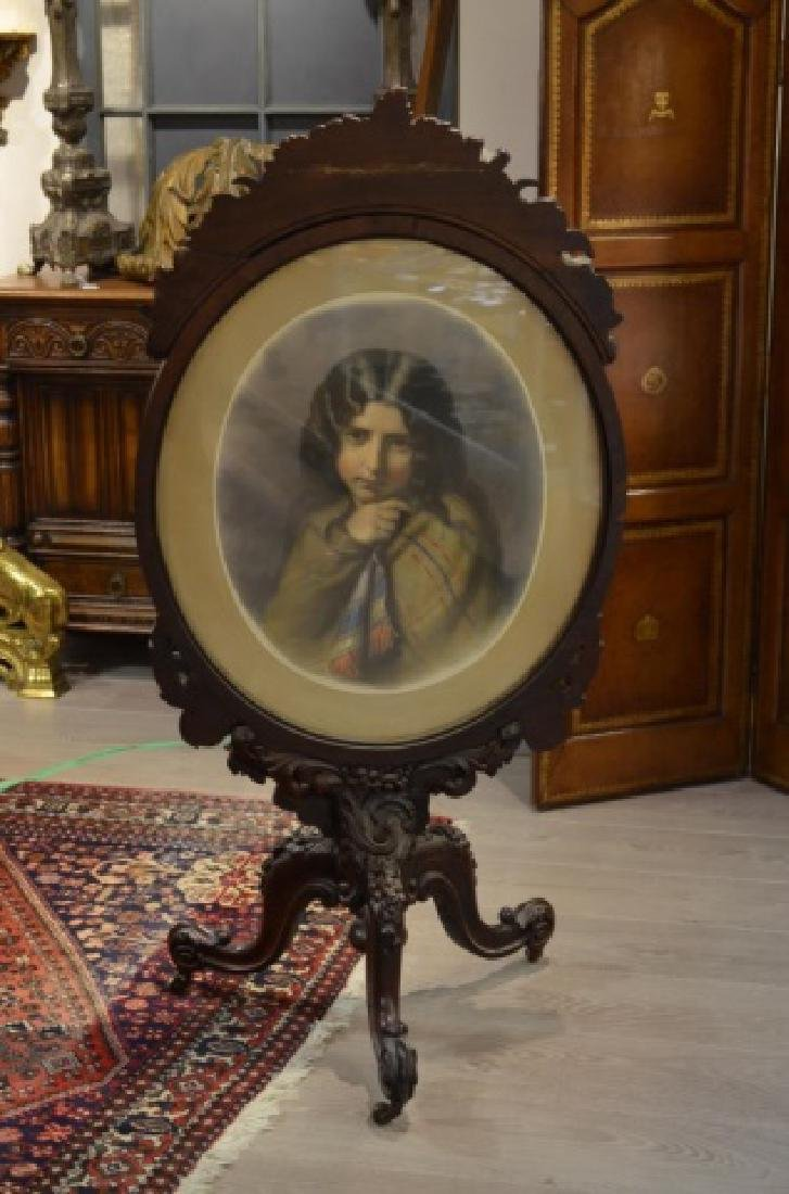 VICTORIAN CARVED ROSEWOOD & NEEDLEPOINT FIRESCREEN - 2