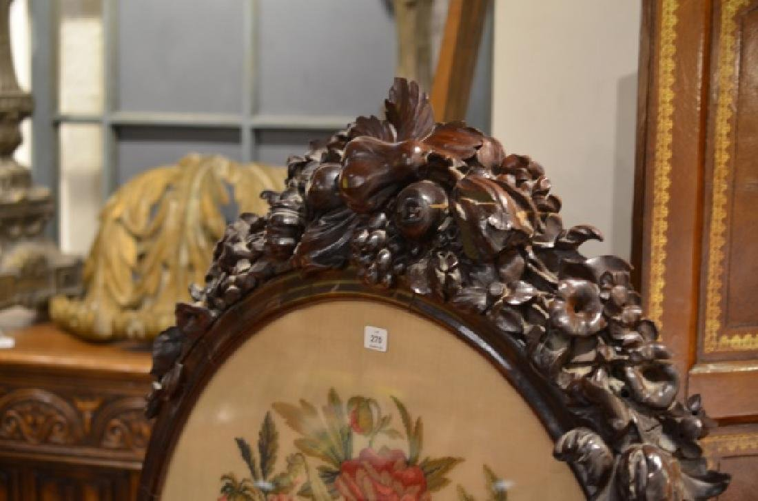 VICTORIAN CARVED ROSEWOOD & NEEDLEPOINT FIRESCREEN - 5