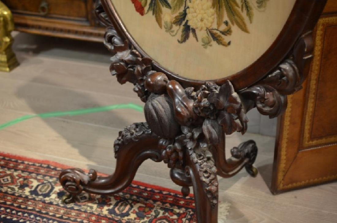 VICTORIAN CARVED ROSEWOOD & NEEDLEPOINT FIRESCREEN - 6