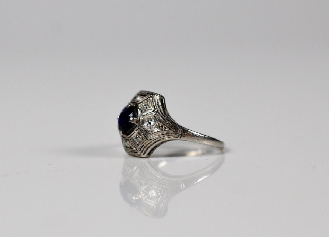 BIRKS PLATINUM SAPPHIRE AND DIAMOND RING