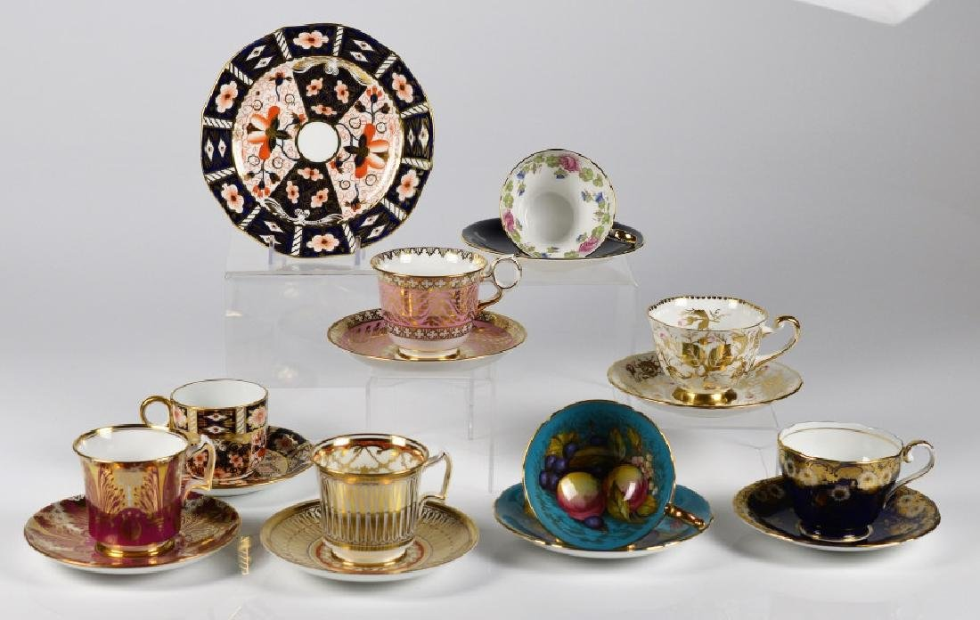 EIGHT ASSORTED ENGLISH CUPS & SAUCERS