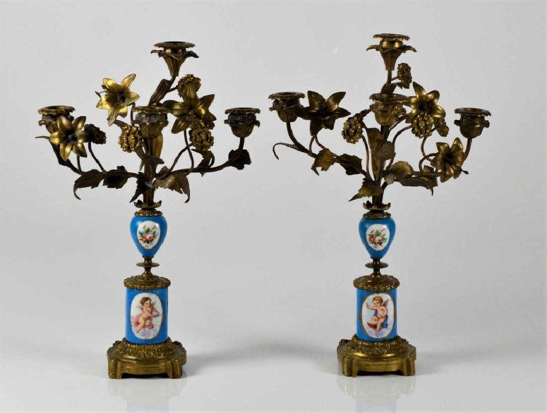 PAIR OF FRENCH BRONZE & PORCELAIN CANDELABRA