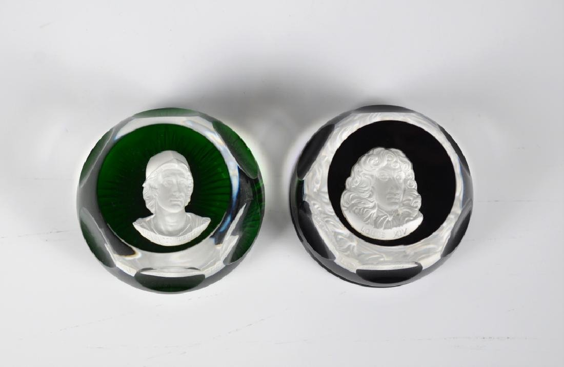TWO BACCARAT SULPHIDE AND GLASS PAPERWEIGHTS