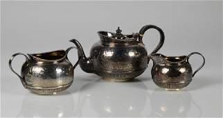 VICTORIAN ENGLISH SILVER THREE PIECE TEA SET