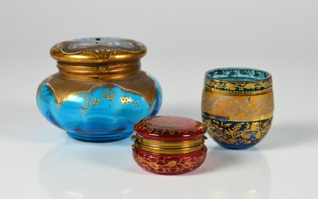 THREE PIECES OF ANTIQUE ENAMELED GLASS