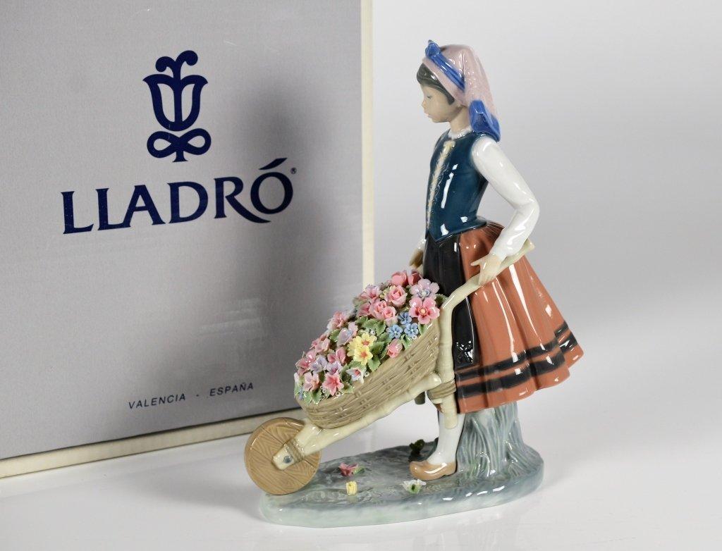LLADRO A BARREL OF BLOSSOMS PORCELAIN FIGURE