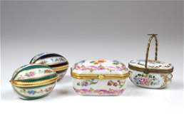 FOUR LIMOGES PORCELAIN HINGED BOXES