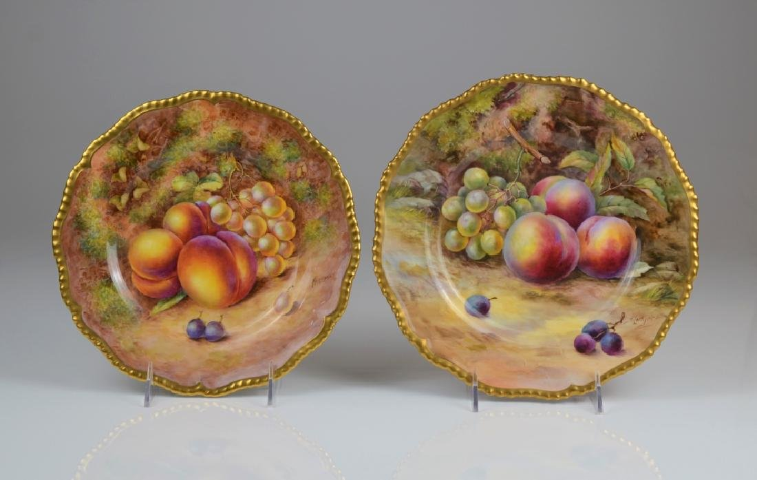 TWO ROYAL WORCESTER HAND PAINTED PORCELAIN PLATES
