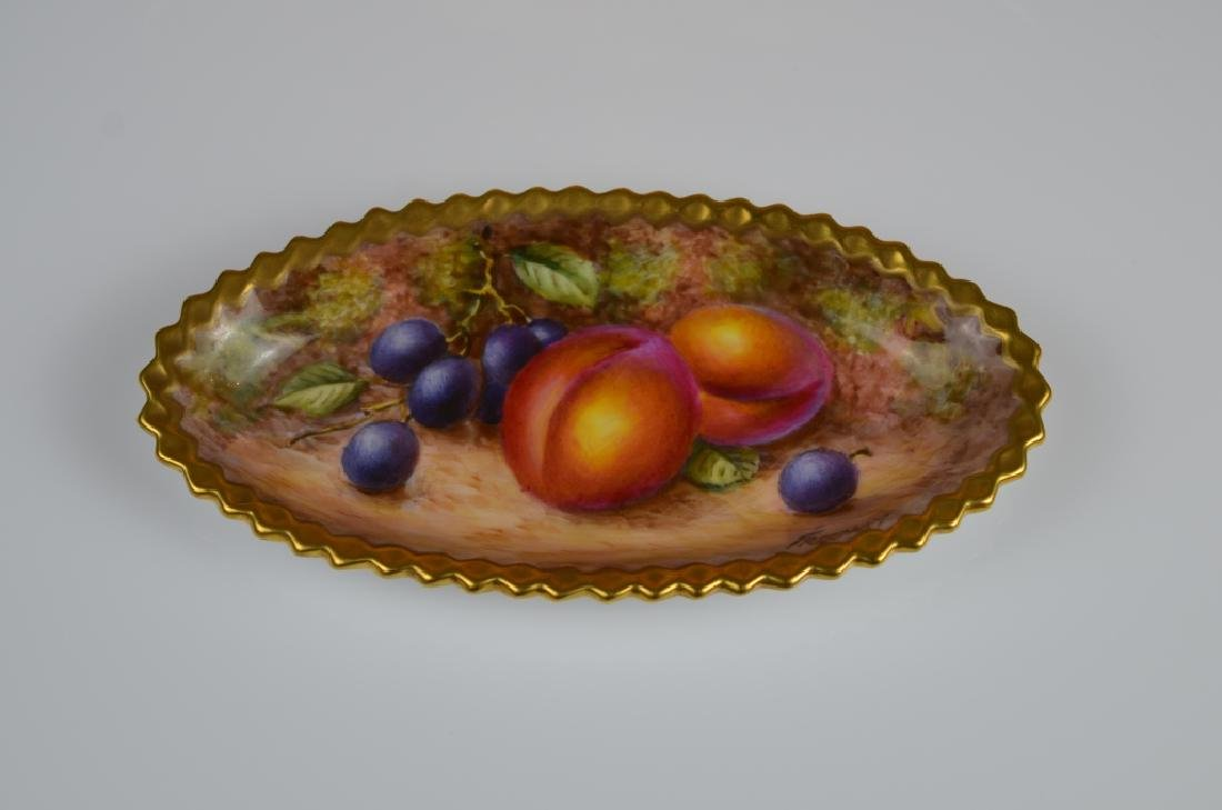 TWO ROYAL WORCESTER HAND PAINTED PORCELAIN PCS - 2