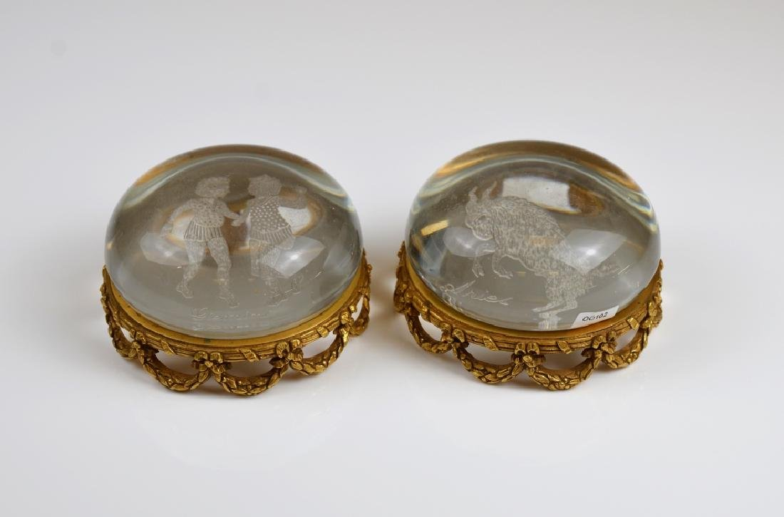 TWO ENGLISH CUSHION SHAPED GLASS PAPERWEIGHTS