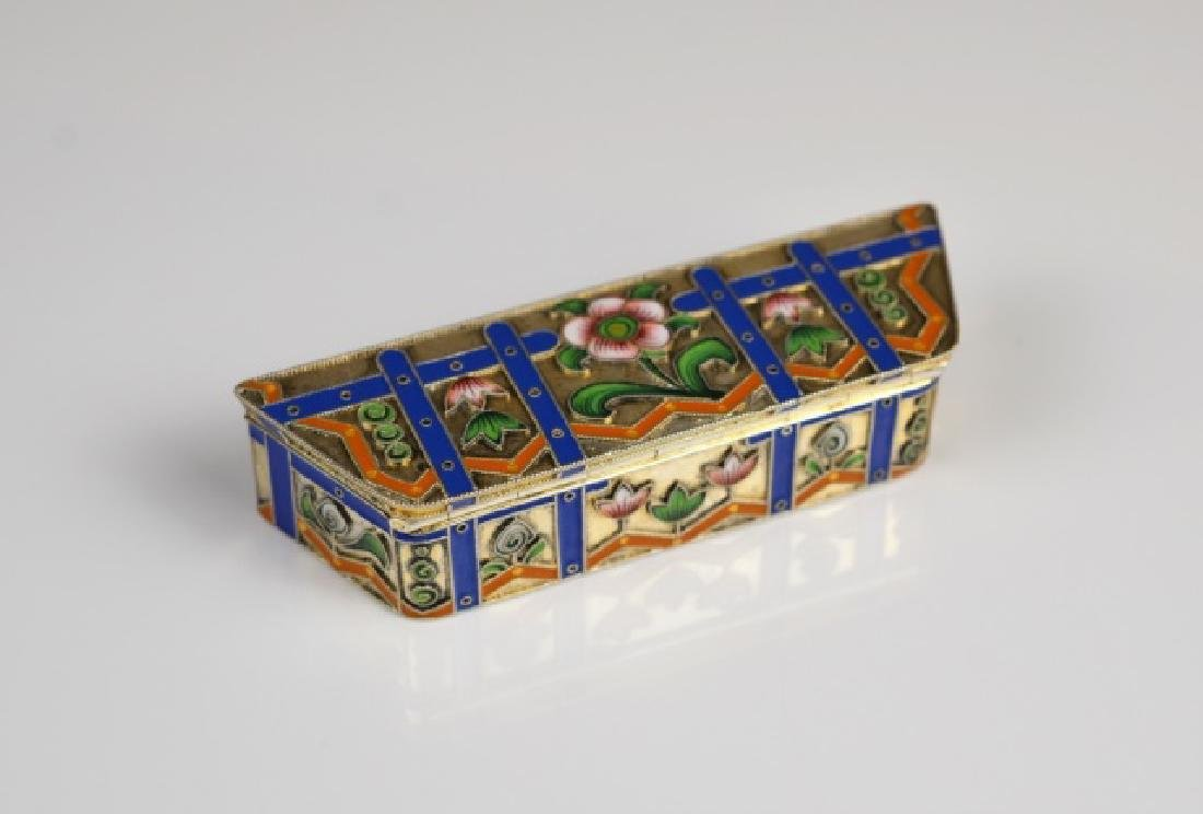RUSSIAN SILVER AND ENAMEL HINGED BOX