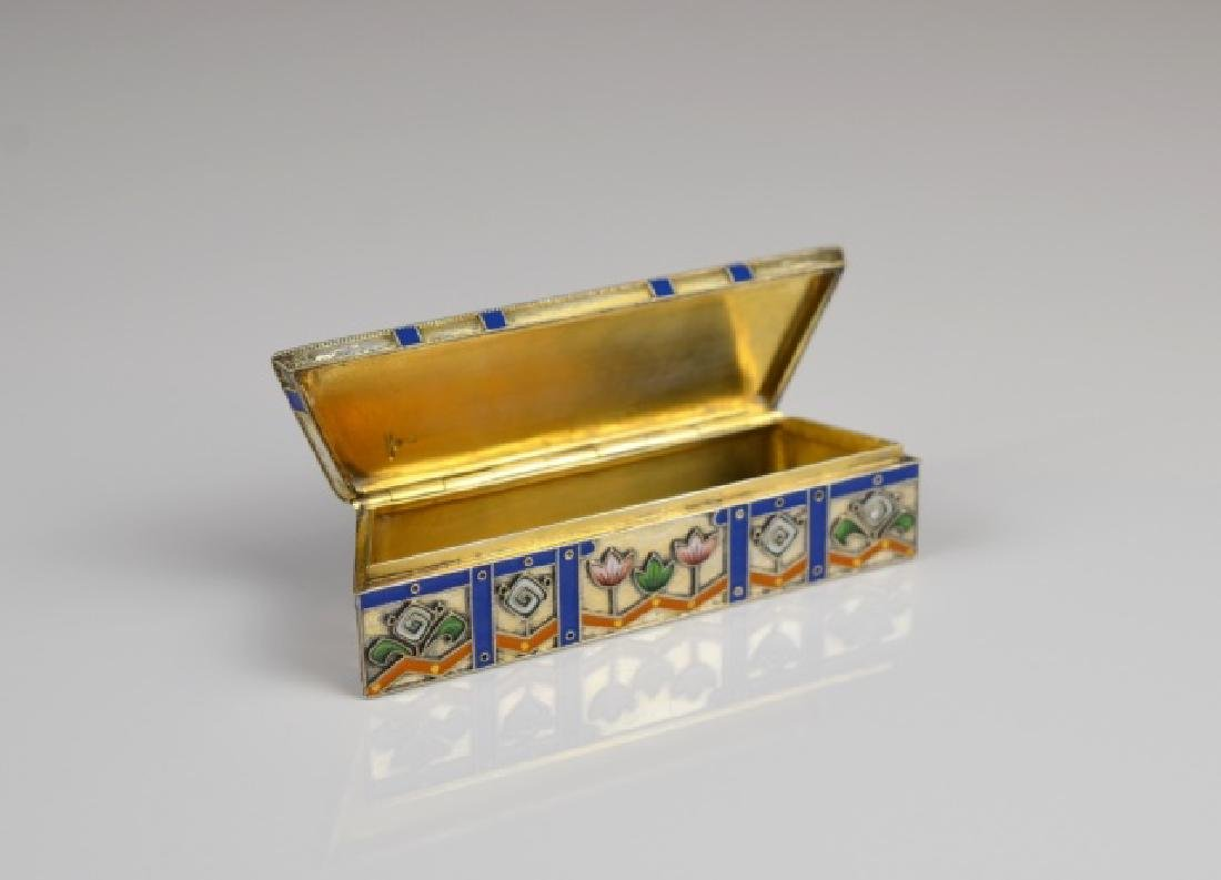 RUSSIAN SILVER AND ENAMEL HINGED BOX - 3