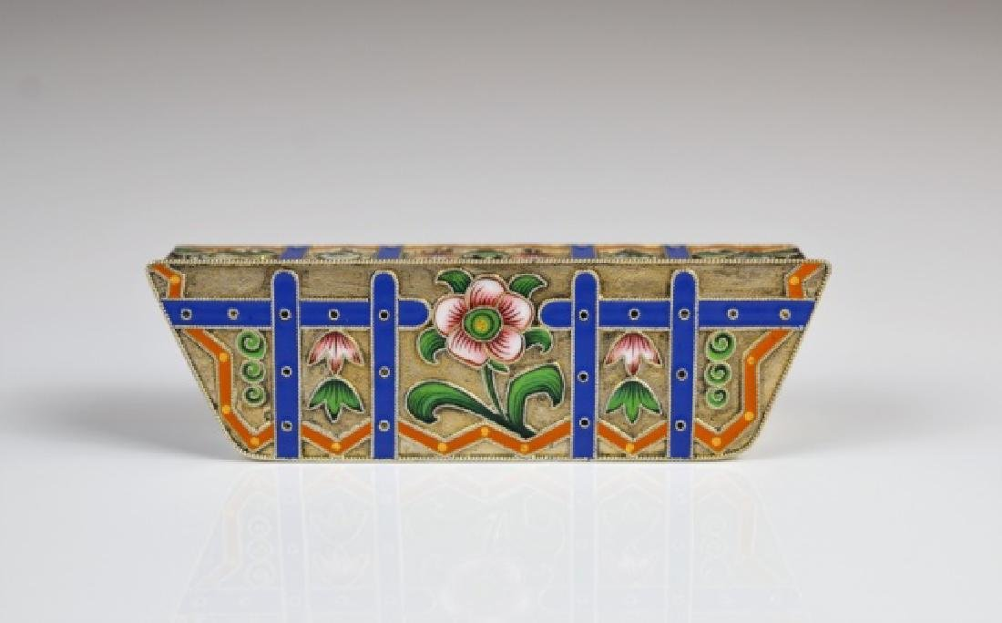 RUSSIAN SILVER AND ENAMEL HINGED BOX - 4