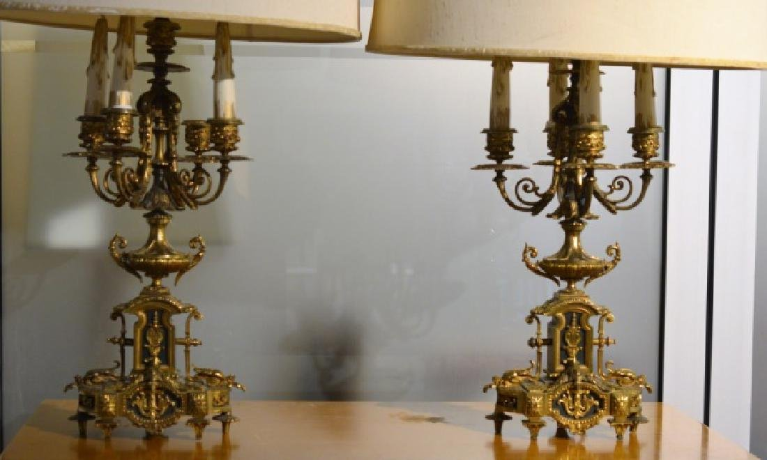 PR FRENCH STYLE BRONZE CANDELABRA LAMPS