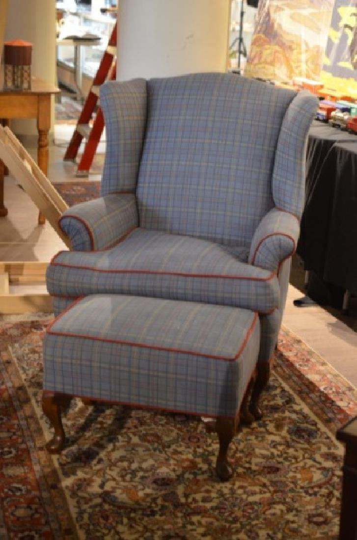 Wingback chair and matching ottoman