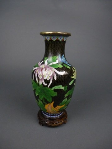 Large Chinese black cloisonne vase w/butterfly