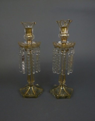 Pair of clear glass lustres with gilt trim
