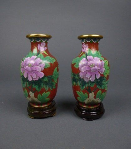 Pr. Chinese red cloisonne vases w/ flowers