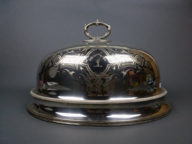 Large silver plate meat dome w/ gadrooned border