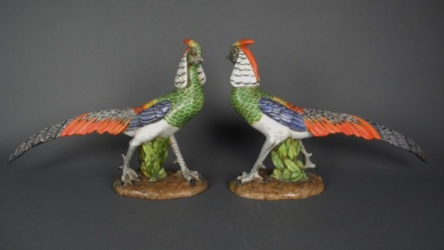 Pair of Italian ceramic pheasants