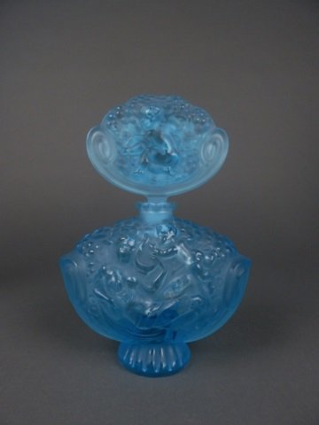 Large blue glass perfume bottle signed R. Lalique