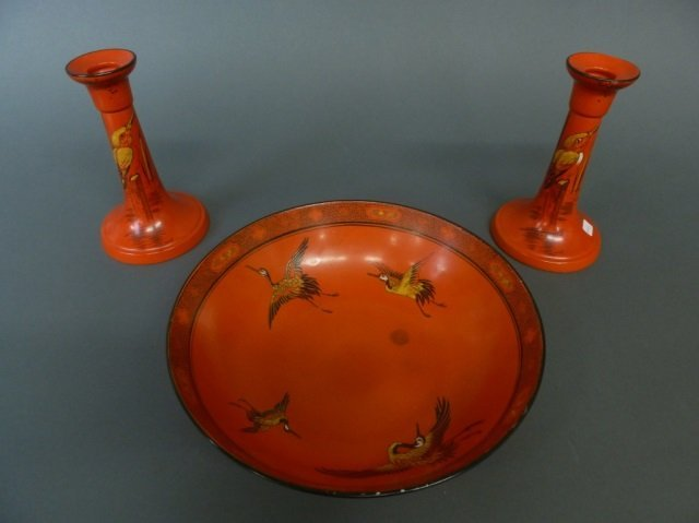 Shelley bowl & pair of candlesticks w/ birds