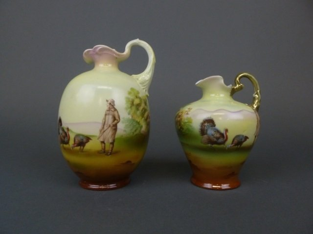 Two Royal Bayreuth jugs with turkeys