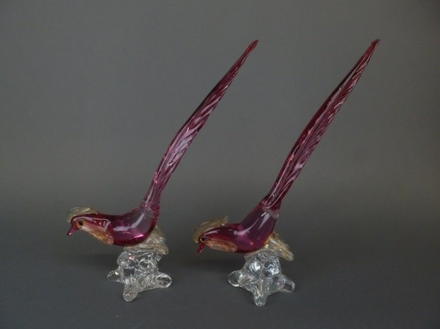 Pair of Murano glass pheasants w/ gold inclusions