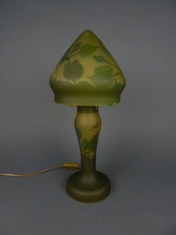 Galle style cameo glass mushroom lamp, 20th C.