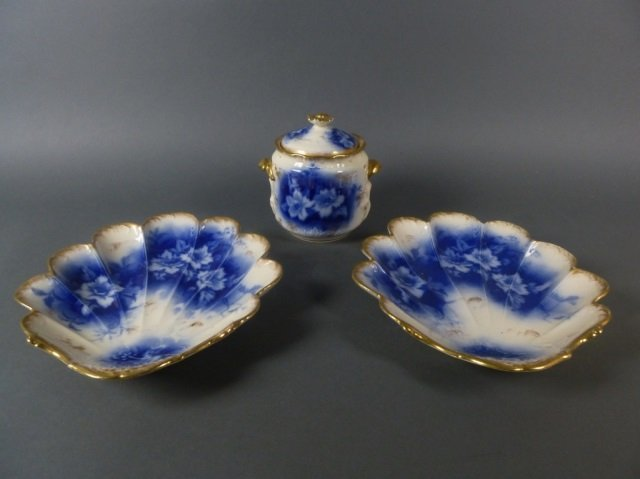 W.A. Adderly & Co. biscuit barrel & pr dishes