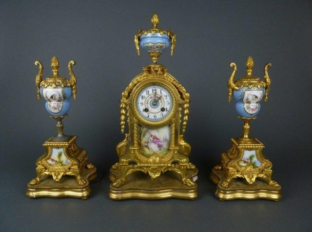 3 piece gilt bronze French clock garniture set