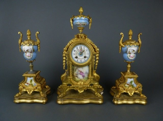 3 piece gilt bronze French clock garniture set