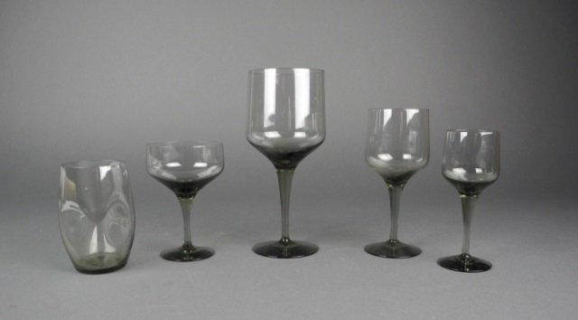 36 pieces of Orrefors smoky quartz glassware